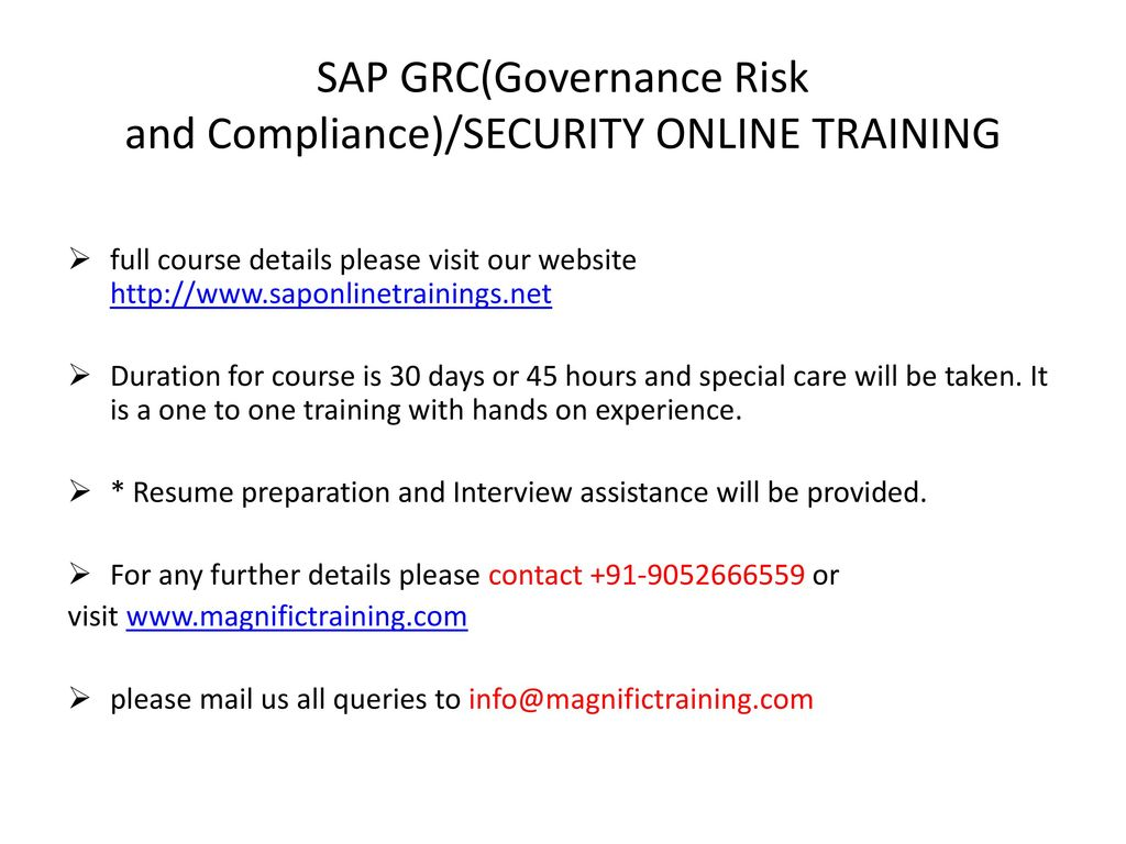 SAP GRC(Governance Risk and Compliance)/SECURITY ONLINE TRAINING UK ...