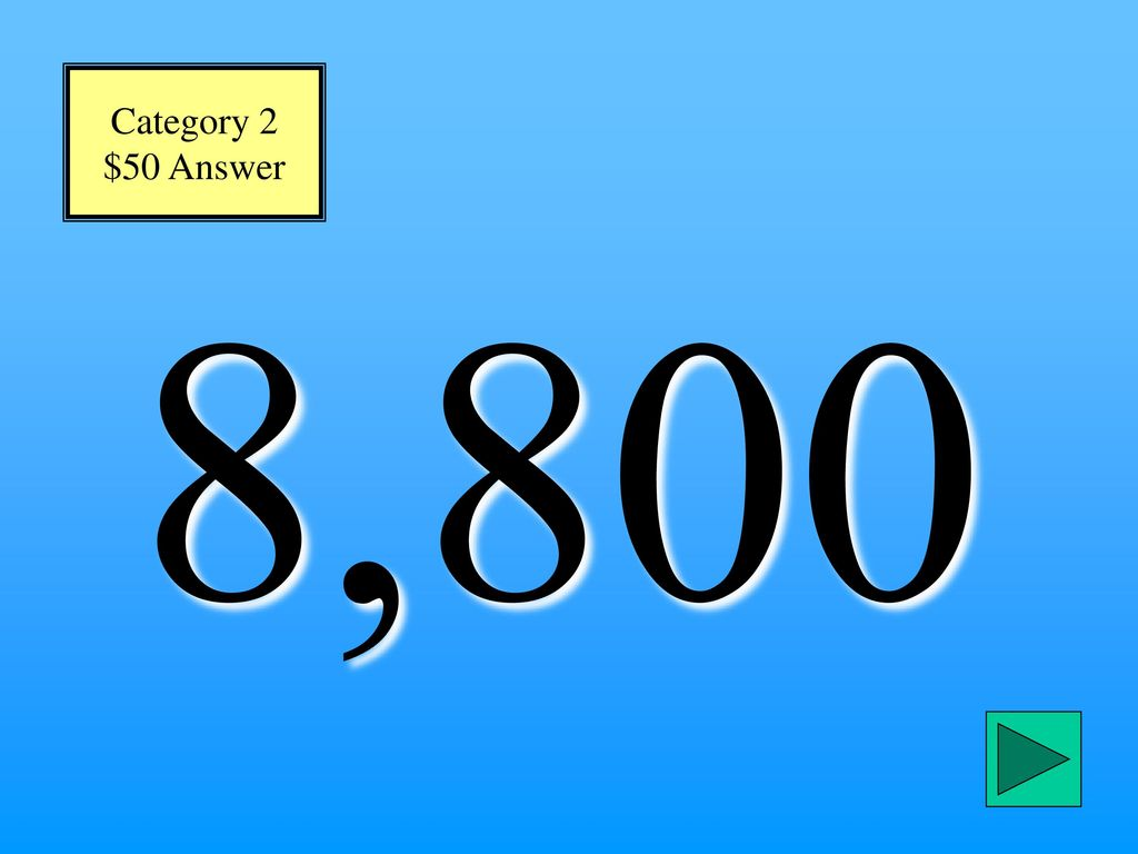 Category 2 $50 Answer 8,800