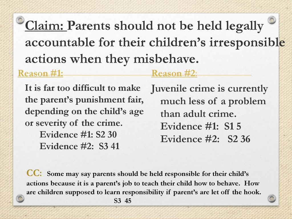 should parents be responsible for the crimes of their children