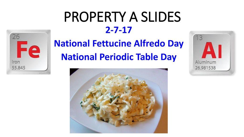 2 7 17 National Fettucine Alfredo Day National Periodic Table Day
