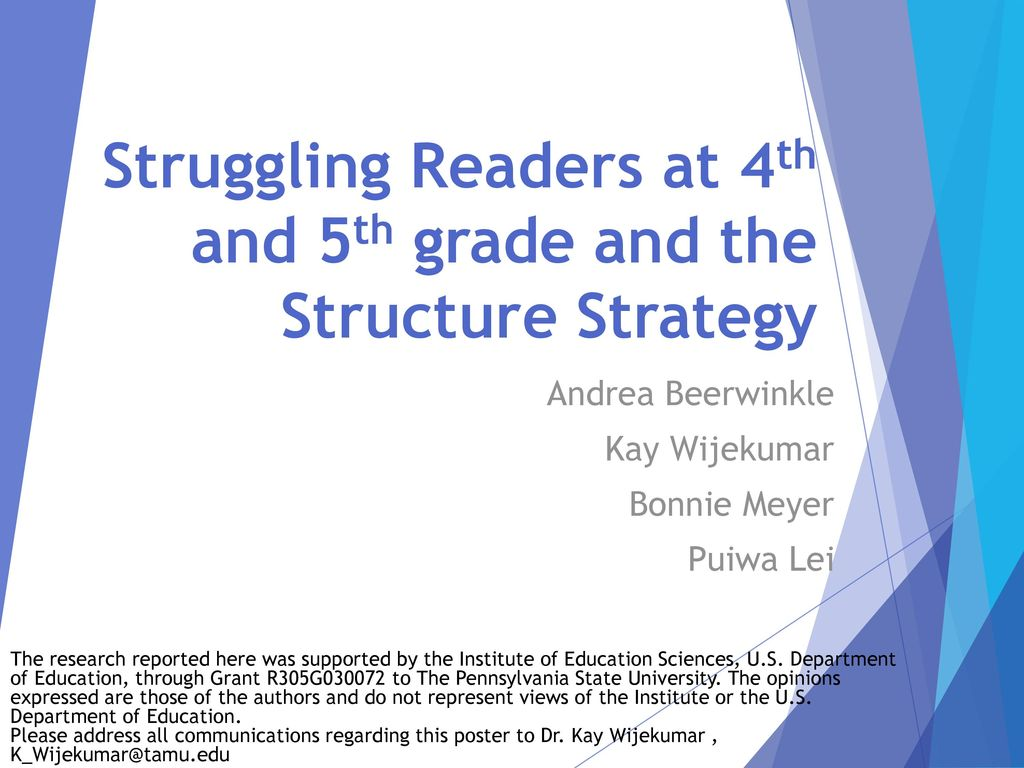 Struggling Readers At 4th And 5th Grade And The Structure Strategy