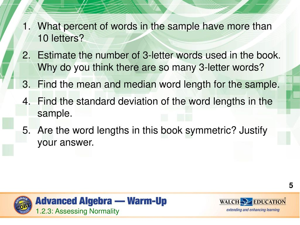 What Percent Of Words In The Sample Have More Than 10 Letters