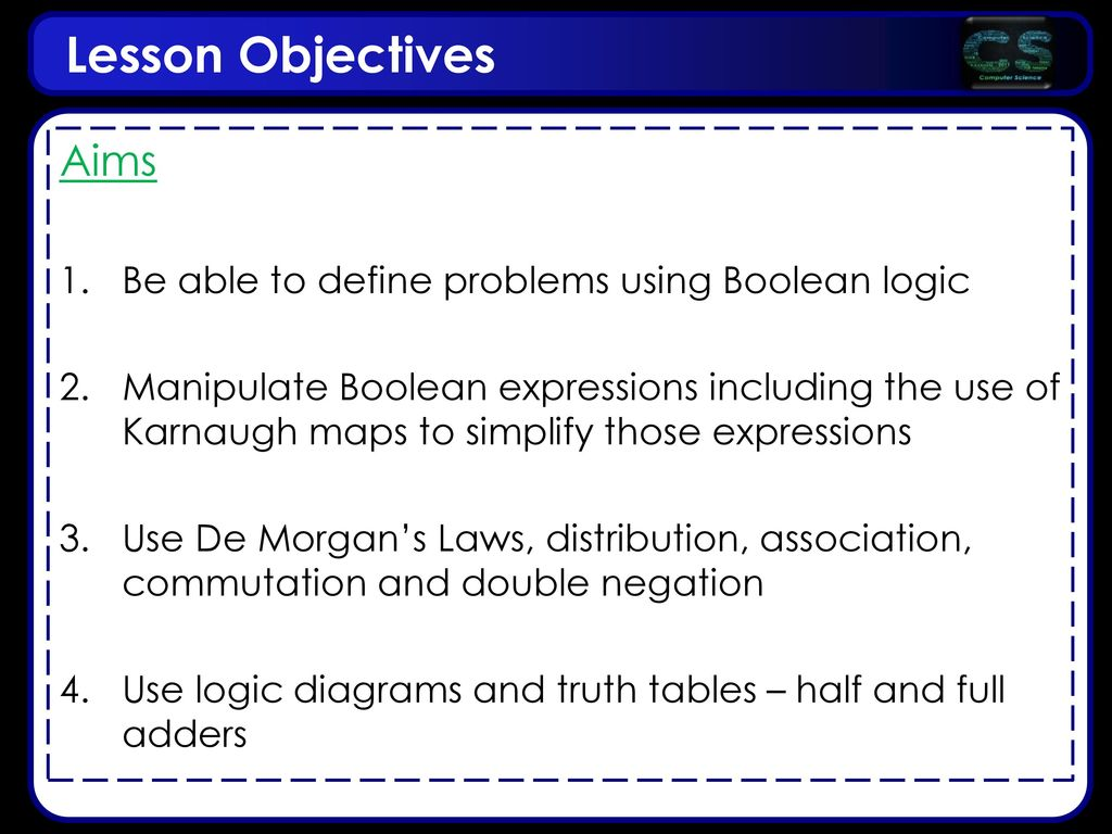 Lesson Objectives Aims Be Able To Define Problems Using Boolean Logic Diagram Of Full Adder