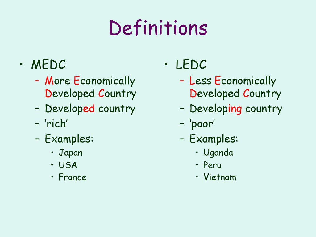 examples of less economically developed countries