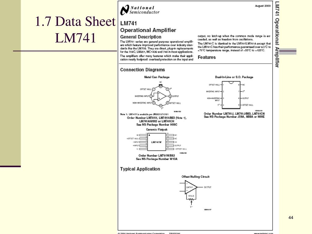 Analogue Electronic 2 Emt Ppt Download Single Polarity Supply By Ic Lm741 44 17 Data Sheet
