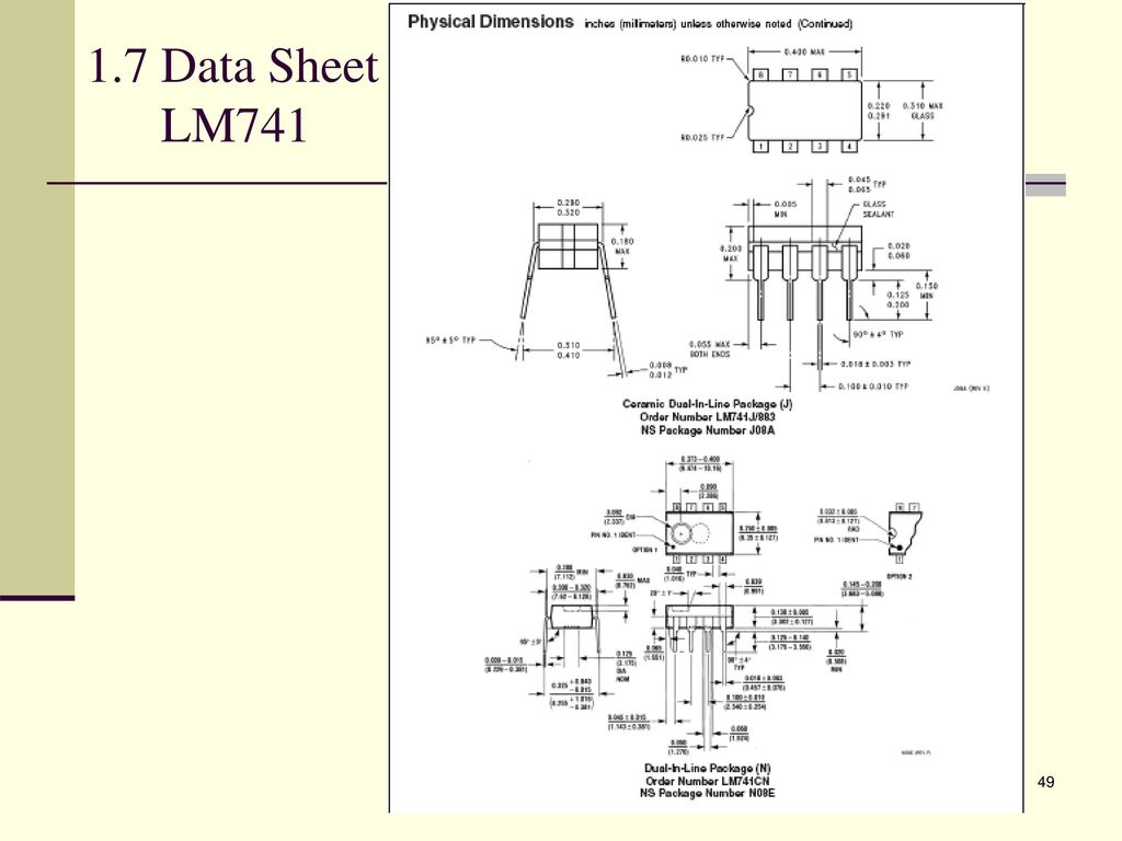 Analogue Electronic 2 Emt Ppt Download Single Polarity Supply By Ic Lm741 49 17 Data Sheet