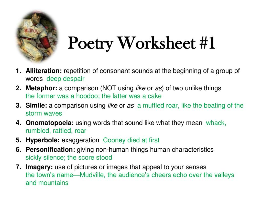 Welcome Back Have Out Your Poetry Worksheet 1 Casey At The Bat