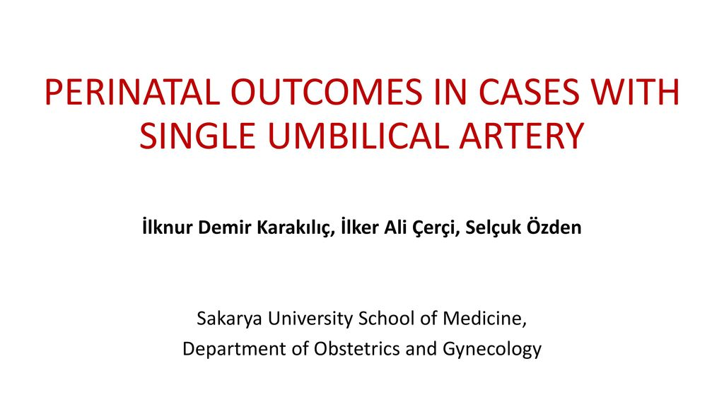 PERINATAL OUTCOMES IN CASES WITH SINGLE UMBILICAL ARTERY - ppt download