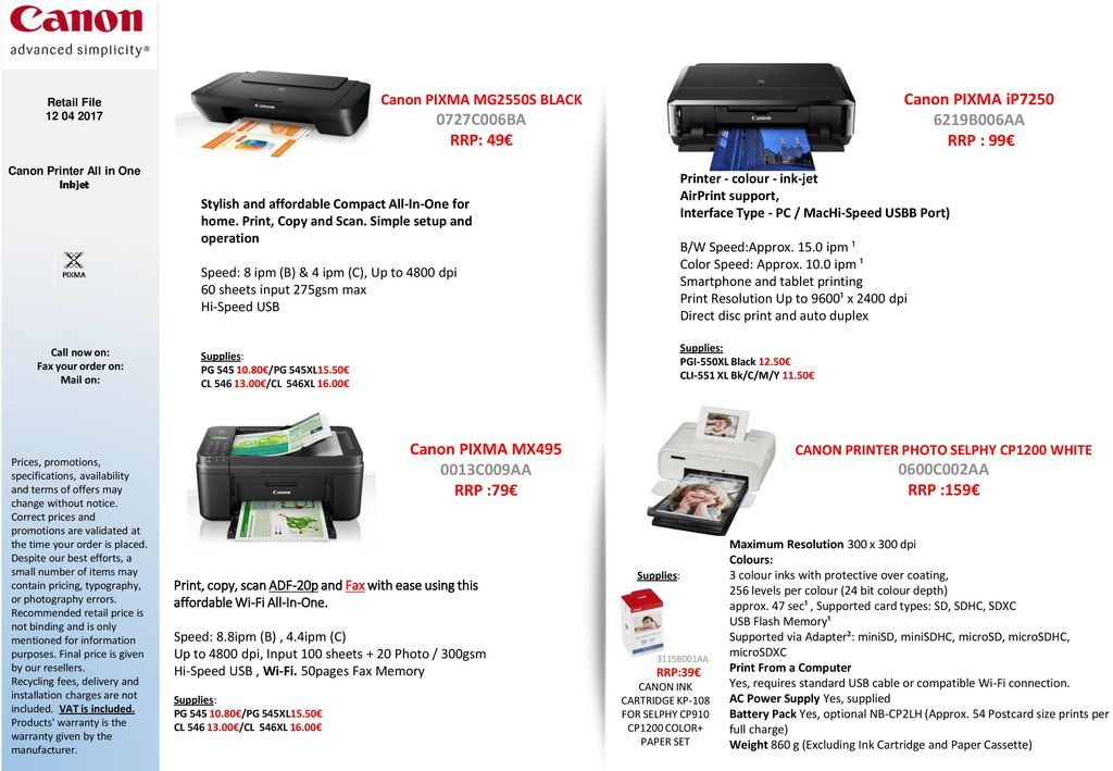 Canon PIXMA All-in-One & Inkjet Printers - ppt download