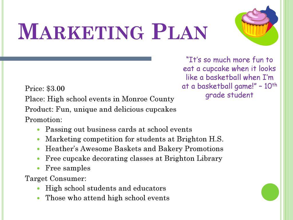 marketing plan for cupcake business