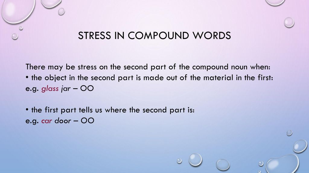 STRESS IN COMPOUND WORDS - ppt download