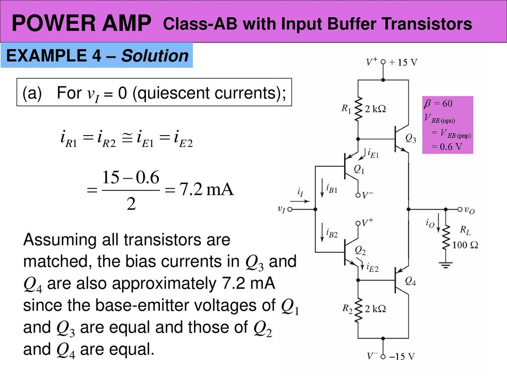 Power Amplifier Circuits Class Ab Ppt Download Transistor Biasing Example Amp With Input Buffer Transistors 4 Solution