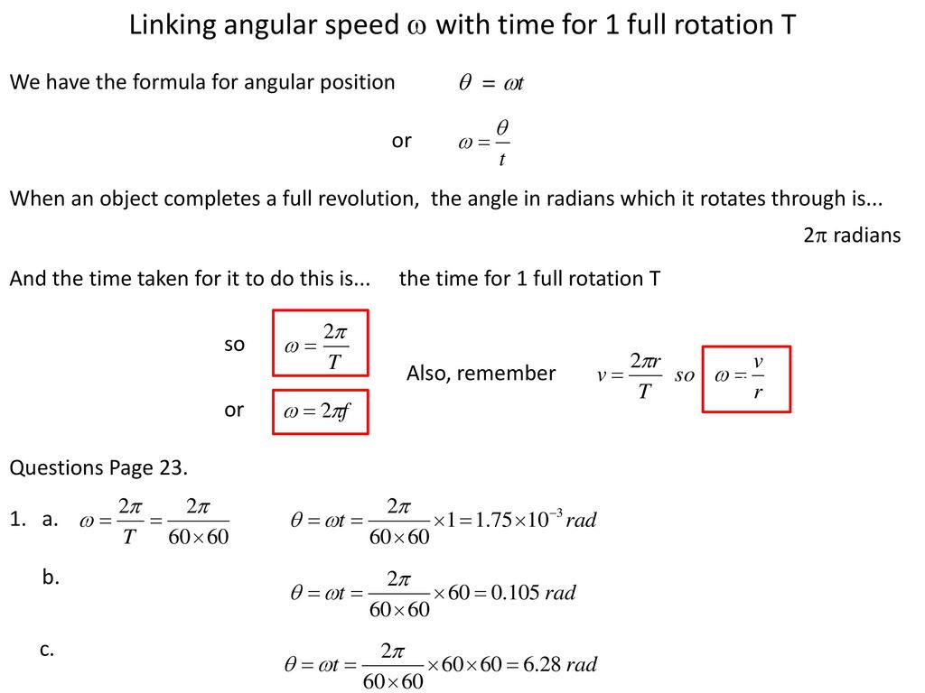 Rotation formula of speed How to