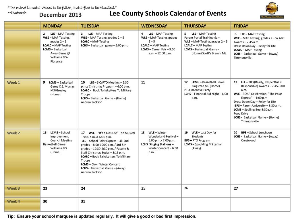 Lee County Schools Calendar Of Events Ppt Download