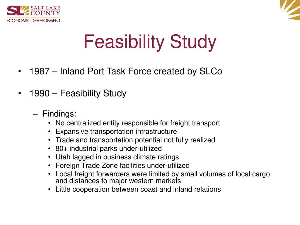 Feasibility Study 1987 – Inland Port Task Force created by SLCo