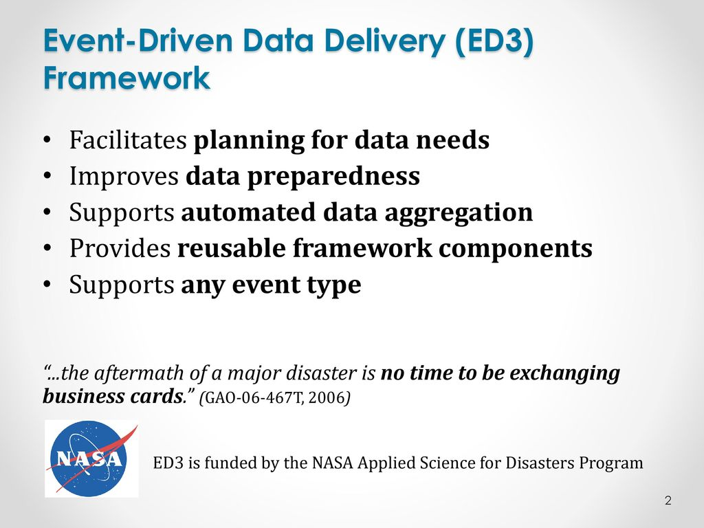 Data Preparedness for Disaster, Hazards and other Events