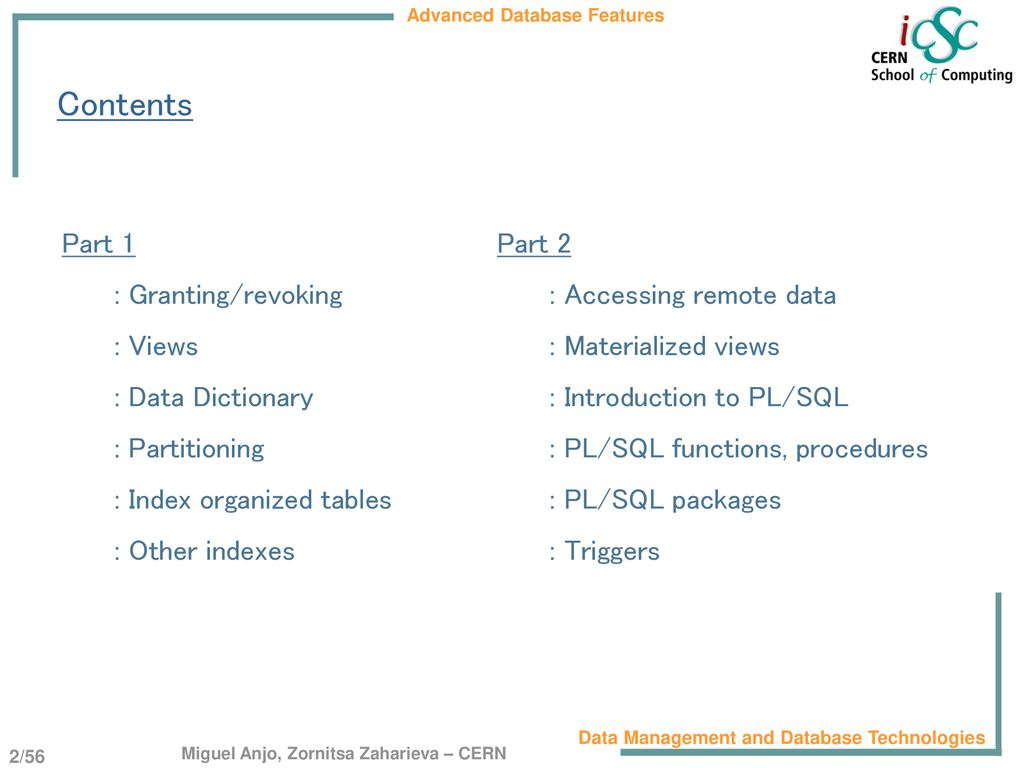 Advanced Database Features - ppt download