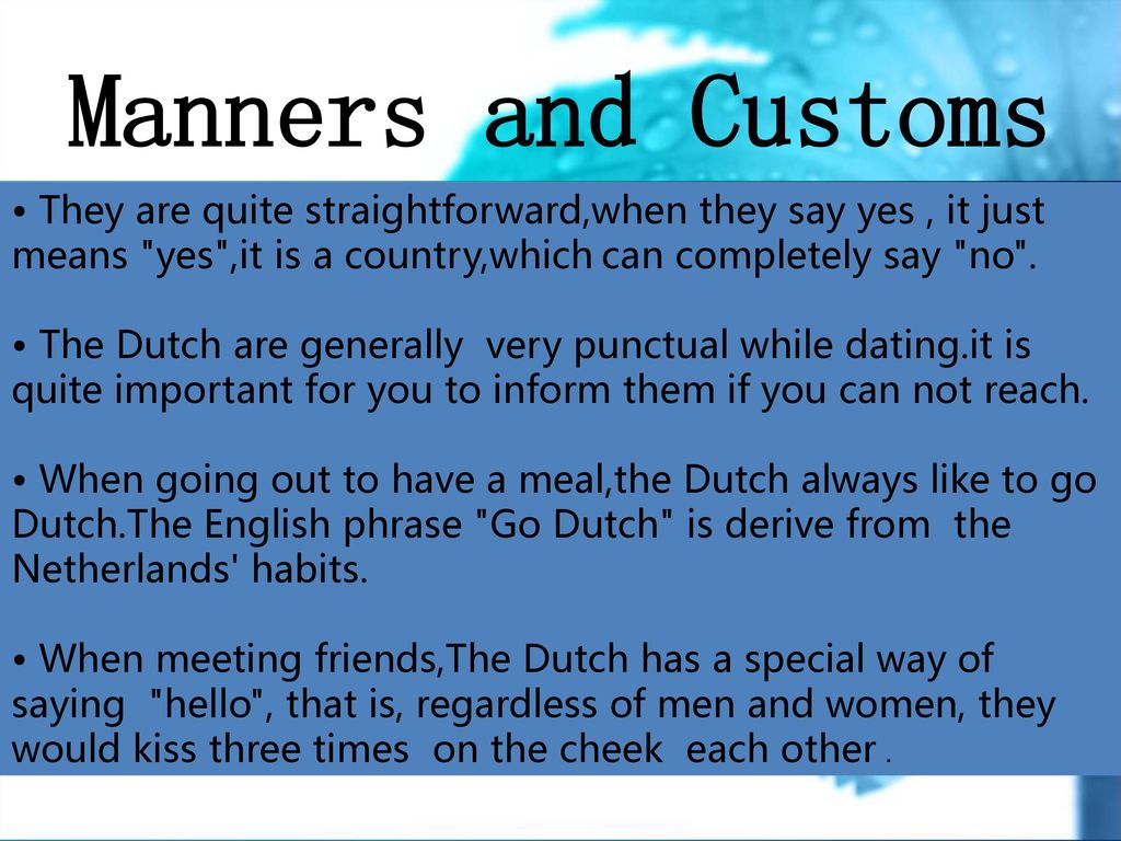 dating in the netherlands customs