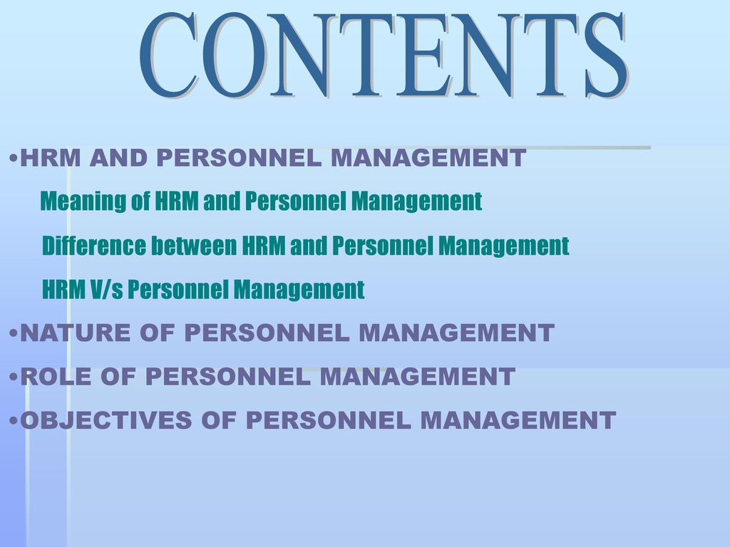 difference between personnel and human resource management