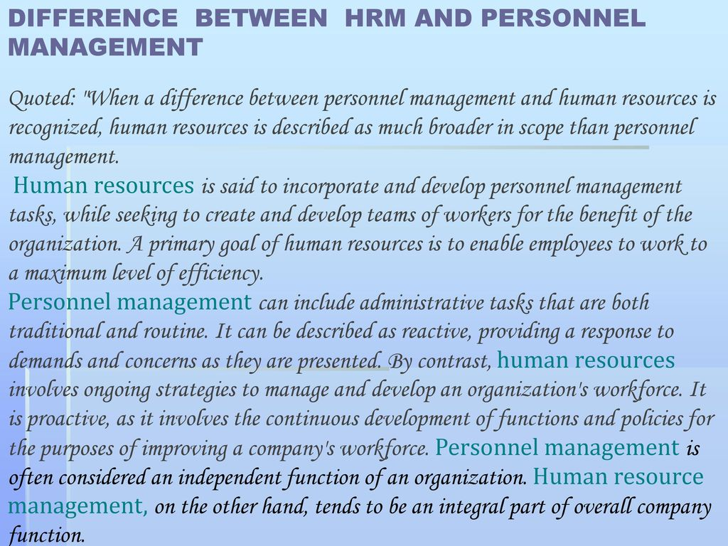difference between hr and personnel management