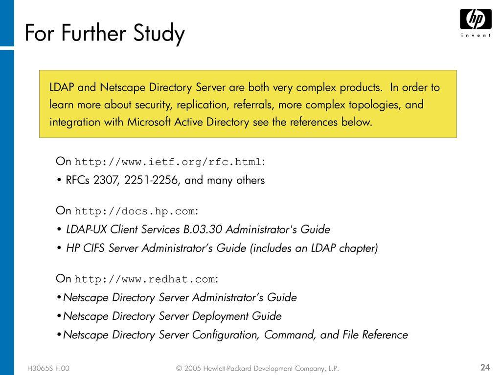 Configuring LDAP-UX Module 13 H3065S F 00 [Course Title
