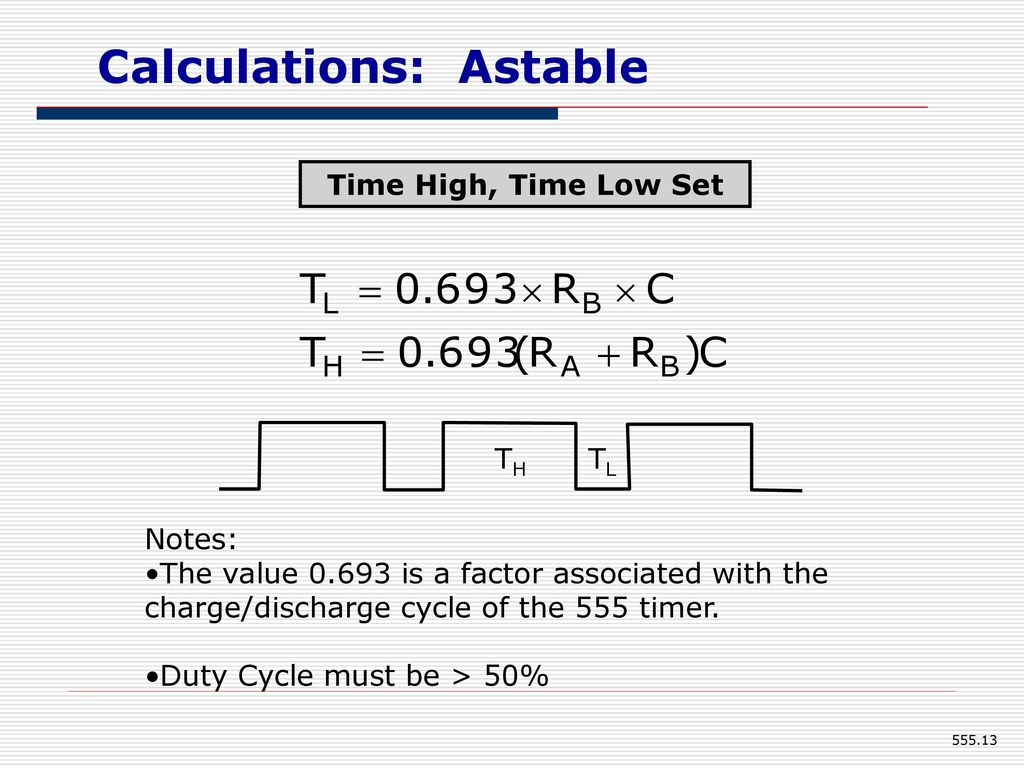 555 Timer Eee Department Kumpavat Harpal Ppt Download Astable Mode Duty Cycle Must Be 50 Calculations