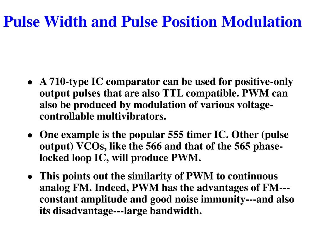 Chapter 3 Pulse Modulation Ppt Download The Schematic Of Position Modulator Using Two 555 Timer Ic Width And