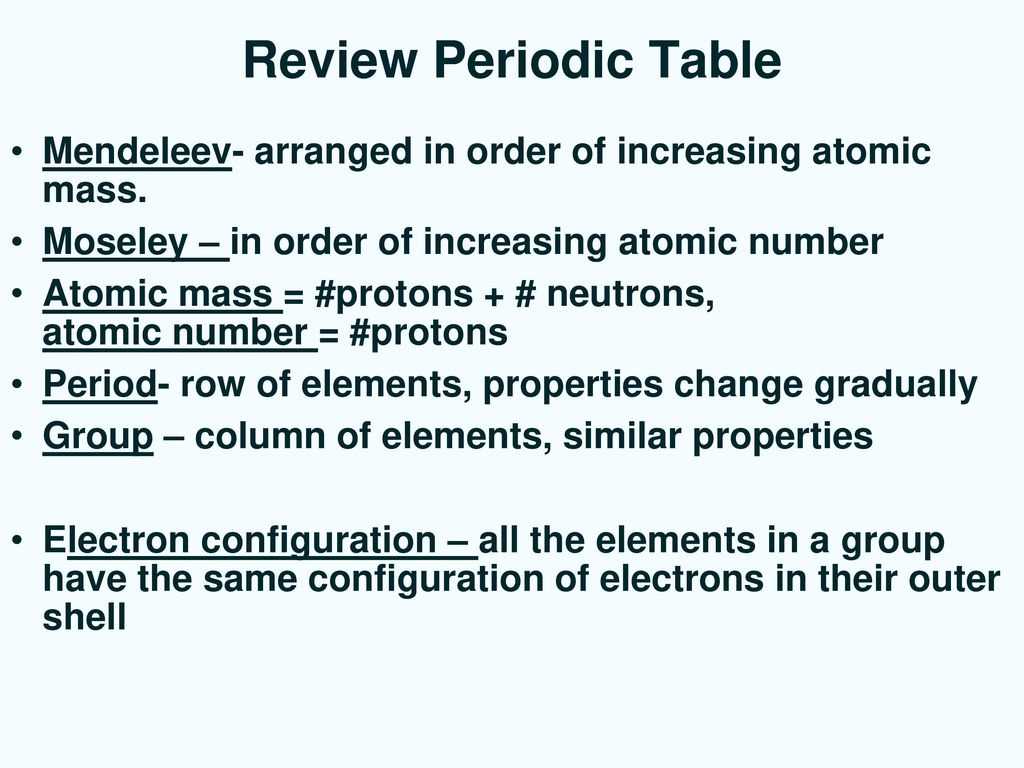 Review periodic table mendeleev arranged in order of increasing review periodic table mendeleev arranged in order of increasing atomic mass moseley in urtaz Images