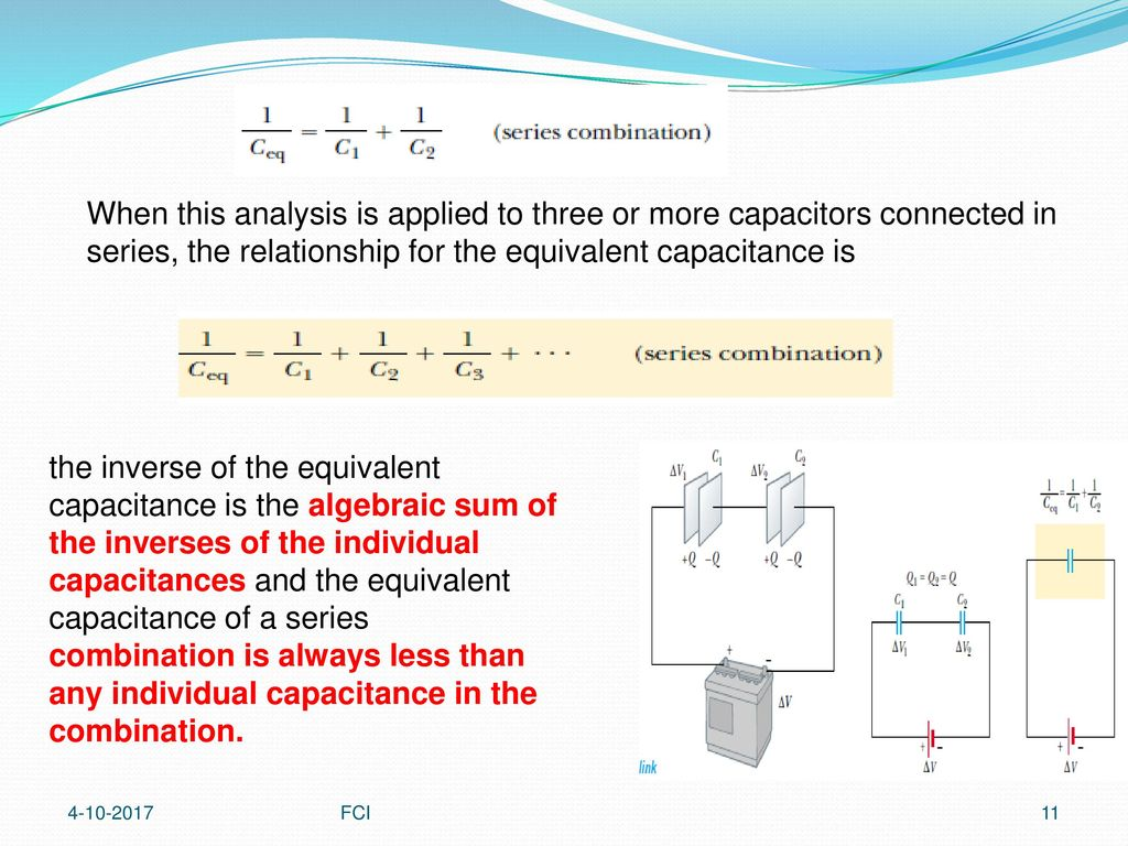 Capacitance And Dielectrics Ppt Download Solution The 1uf Capacitor 2uf Combine In When This Analysis Is Applied To Three Or More Capacitors Connected Series Relationship