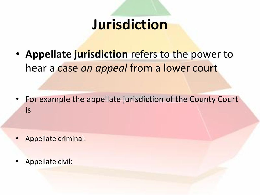 Jurisdiction Appellate jurisdiction refers to the power to hear a case on appeal from a lower court.