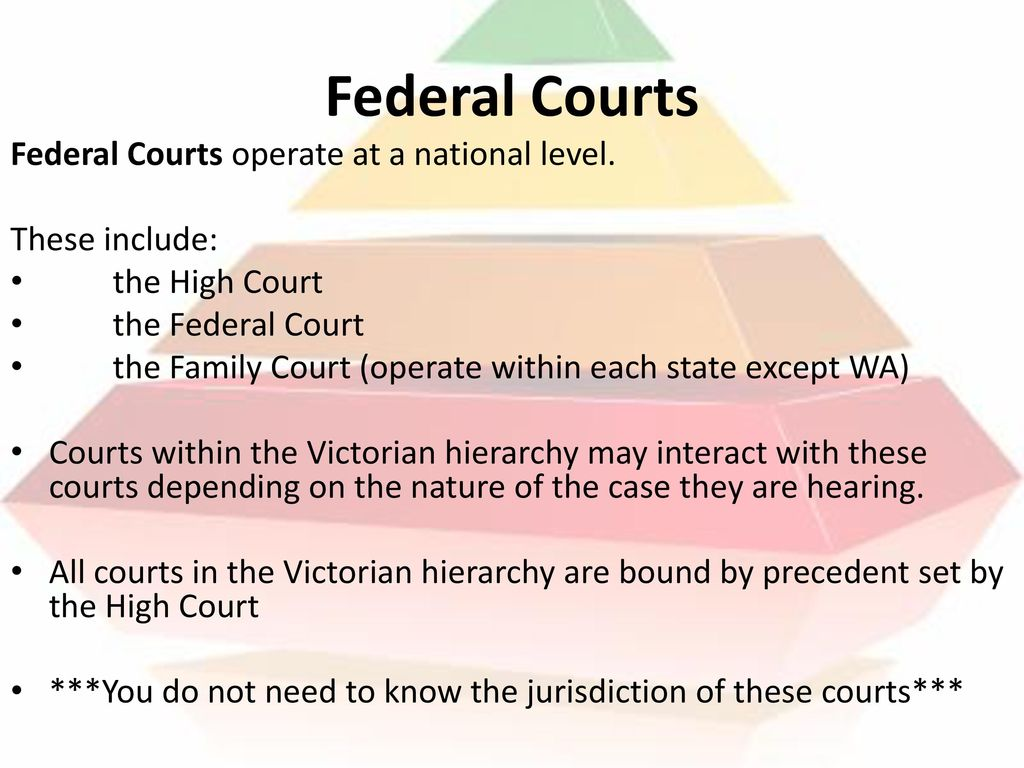 Federal Courts Federal Courts operate at a national level.