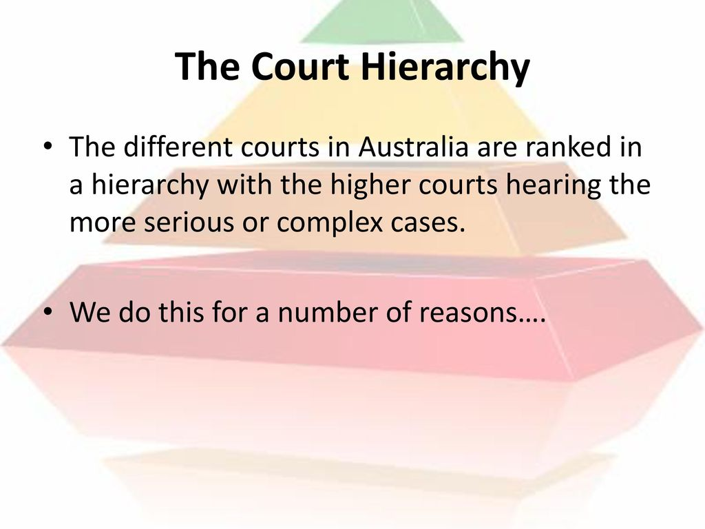 The Court Hierarchy The different courts in Australia are ranked in a hierarchy with the higher courts hearing the more serious or complex cases.