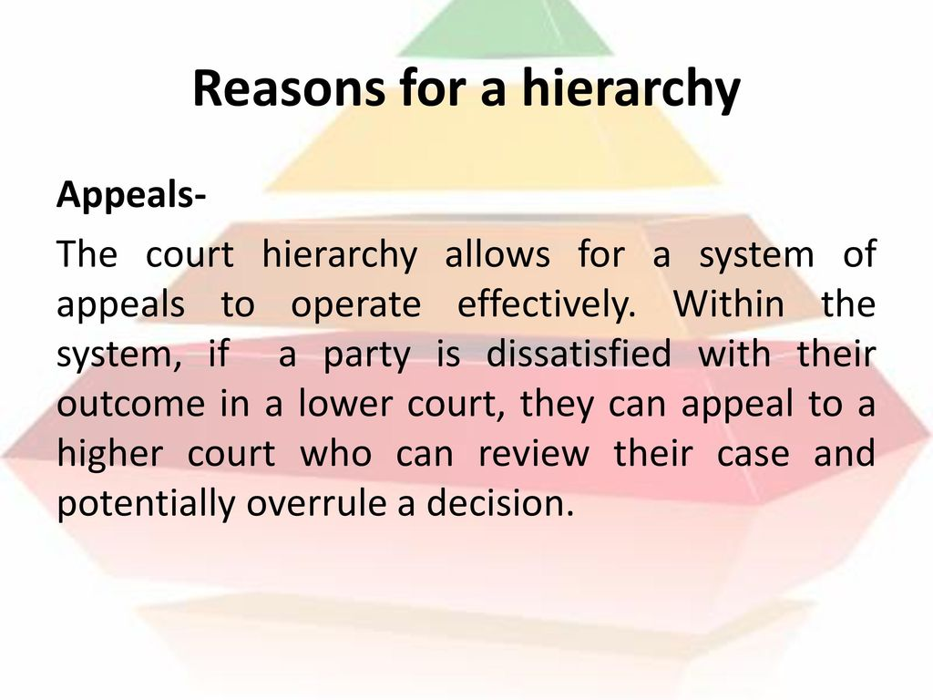 Reasons for a hierarchy