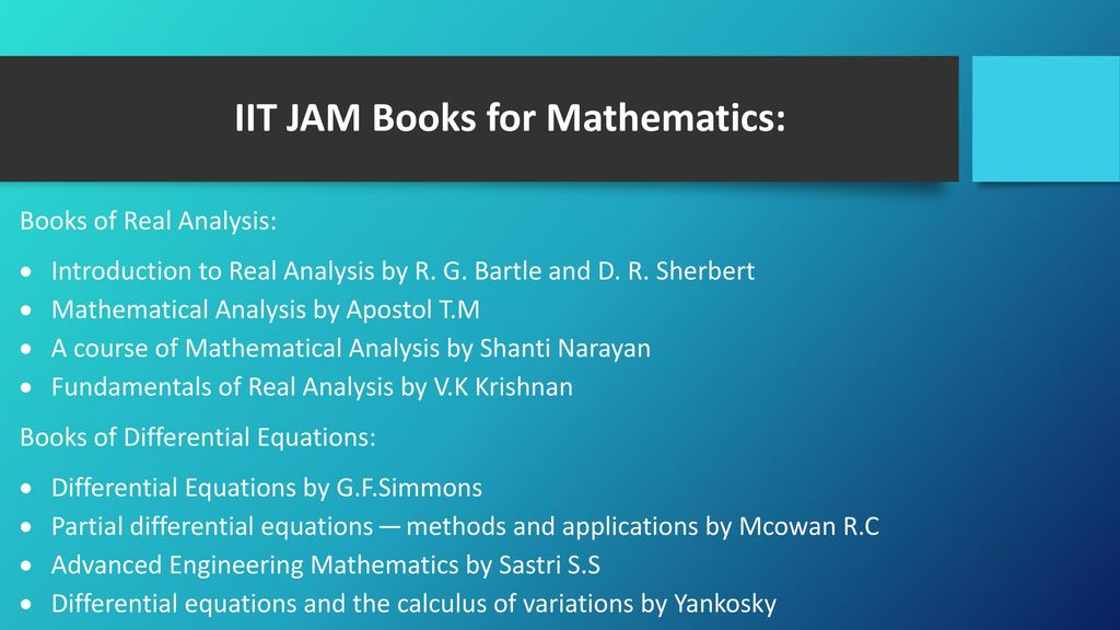 IIT JAM 2018 Reference Books for All Subjects - ppt download