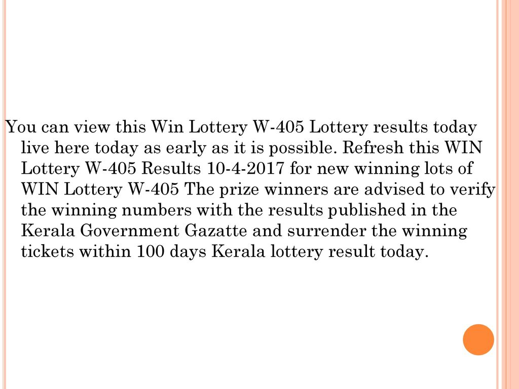 Kerala Lottery Results : Live - ppt download