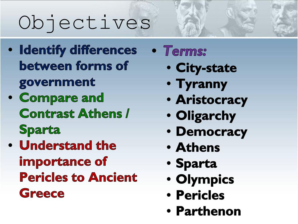 compare and contrast athens and sparta governments Sparta's government was much different than athens, it was an oligarchy an oligarchy meant the ruling power was in the hands of only a few people.