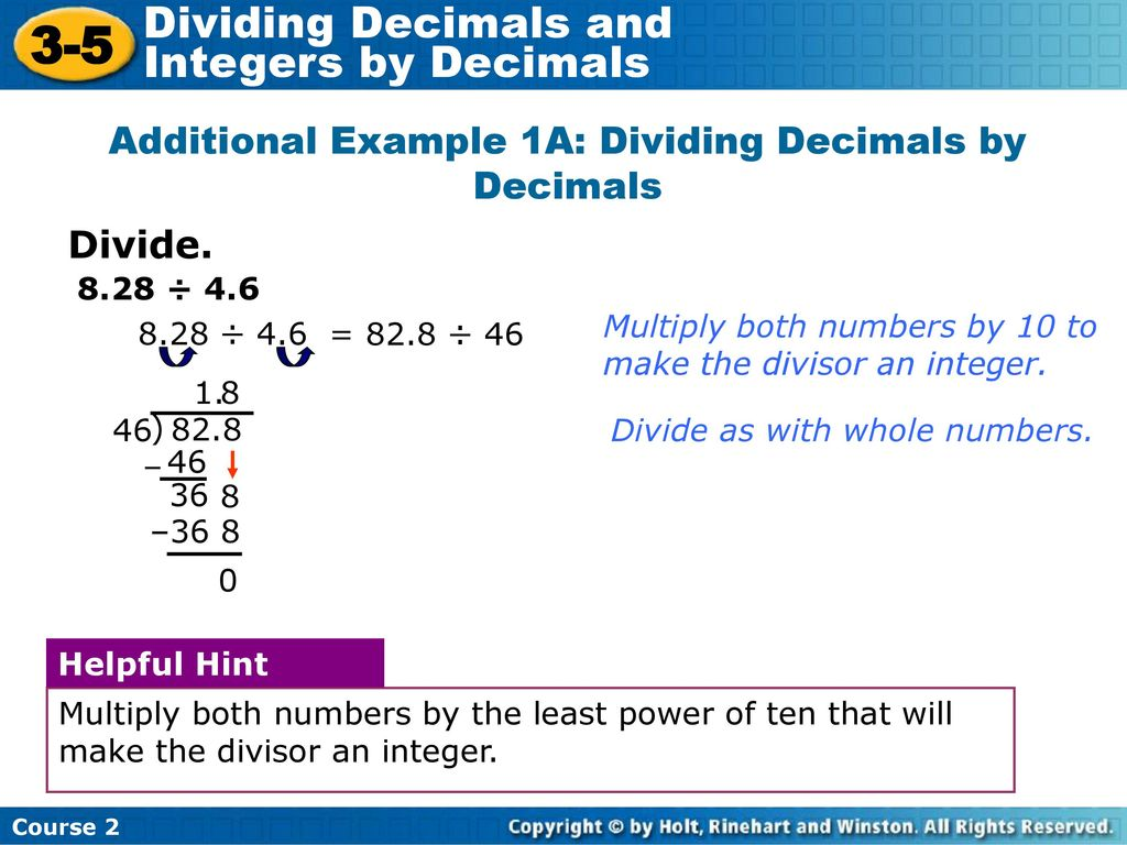 3-5 dividing decimals and integers by decimals warm up - ppt download