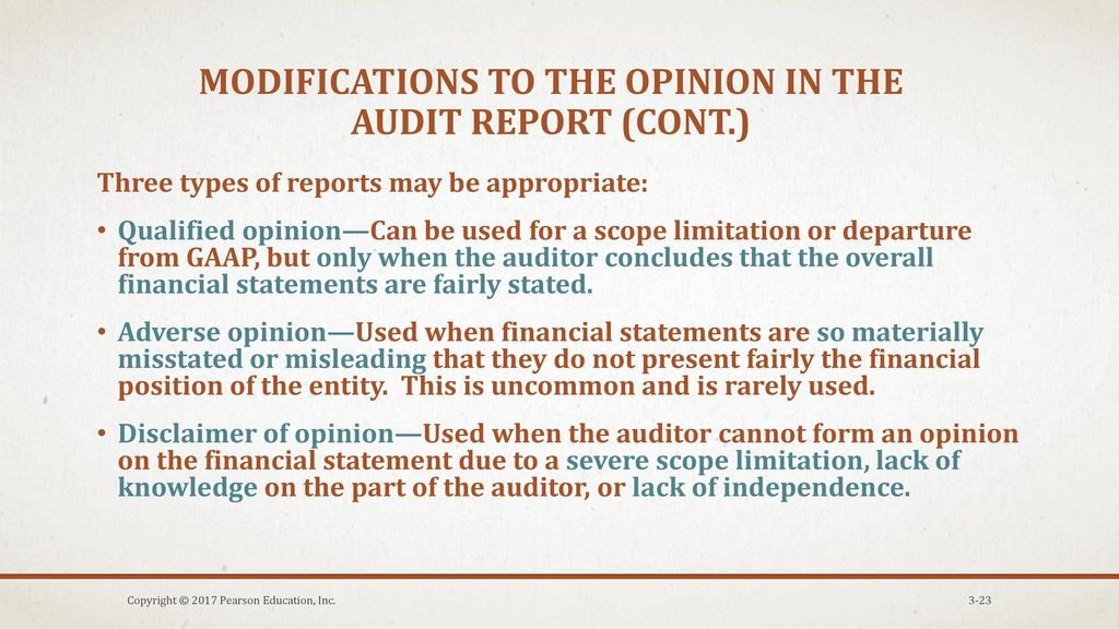 Parts of standard unmodified opinion audit report - ppt download