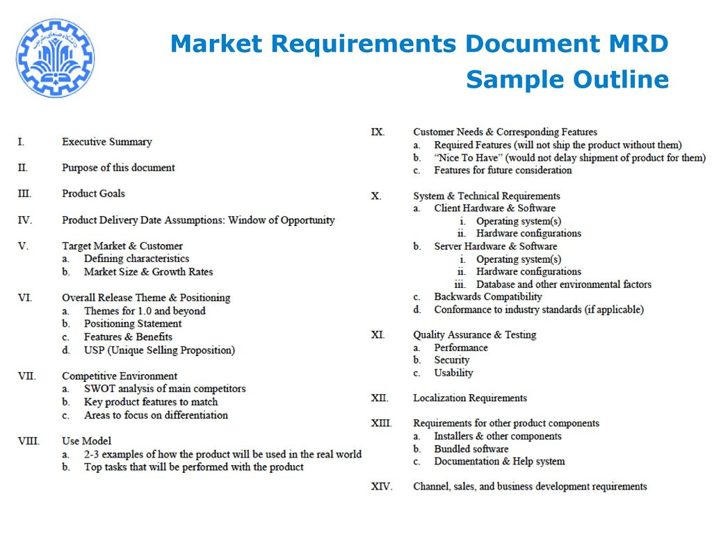 New Product Development Management NPDM Mohsen SADEGHI Ppt Download - Market requirements document