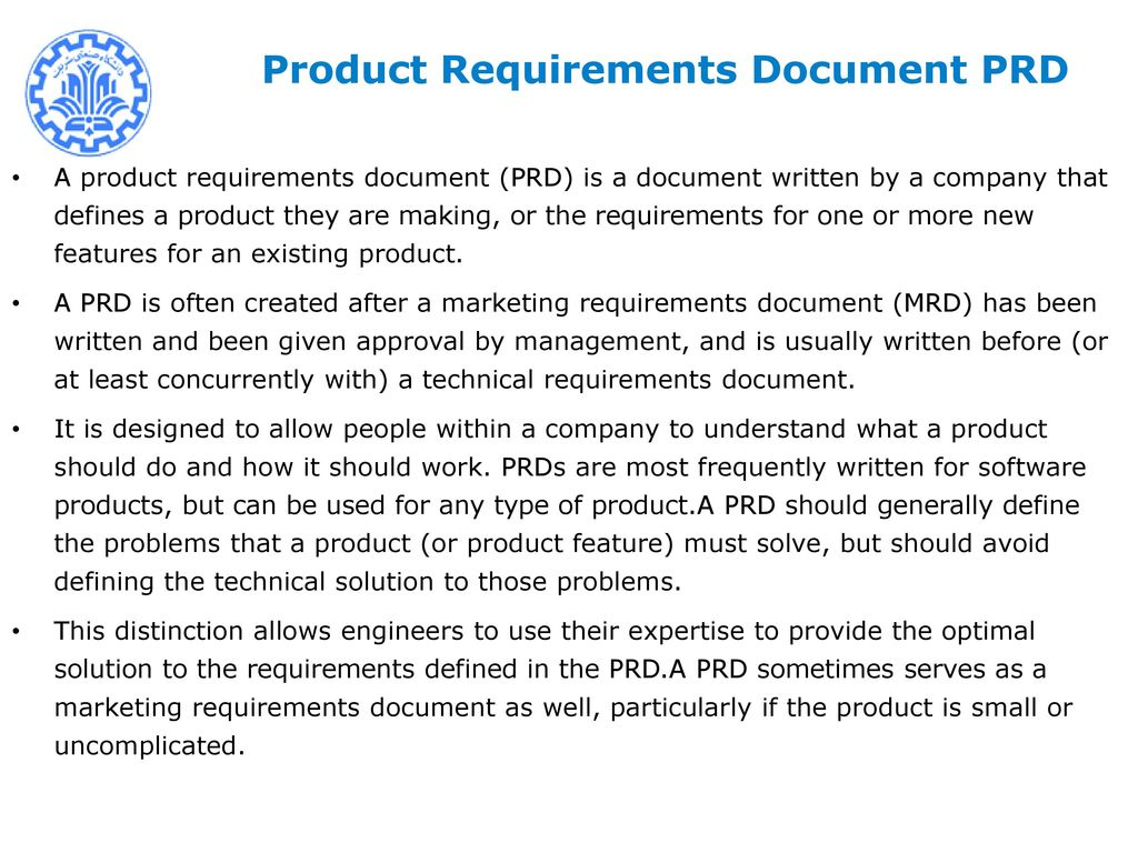 New Product Development Management NPDM Mohsen SADEGHI Ppt Download - Product requirements document