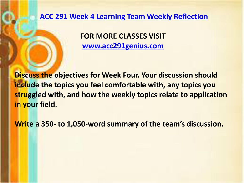 acc 291 reflection summary To download more course tutorials visit   in the file acc  291 week 2 reflection summary you will find overview of the.