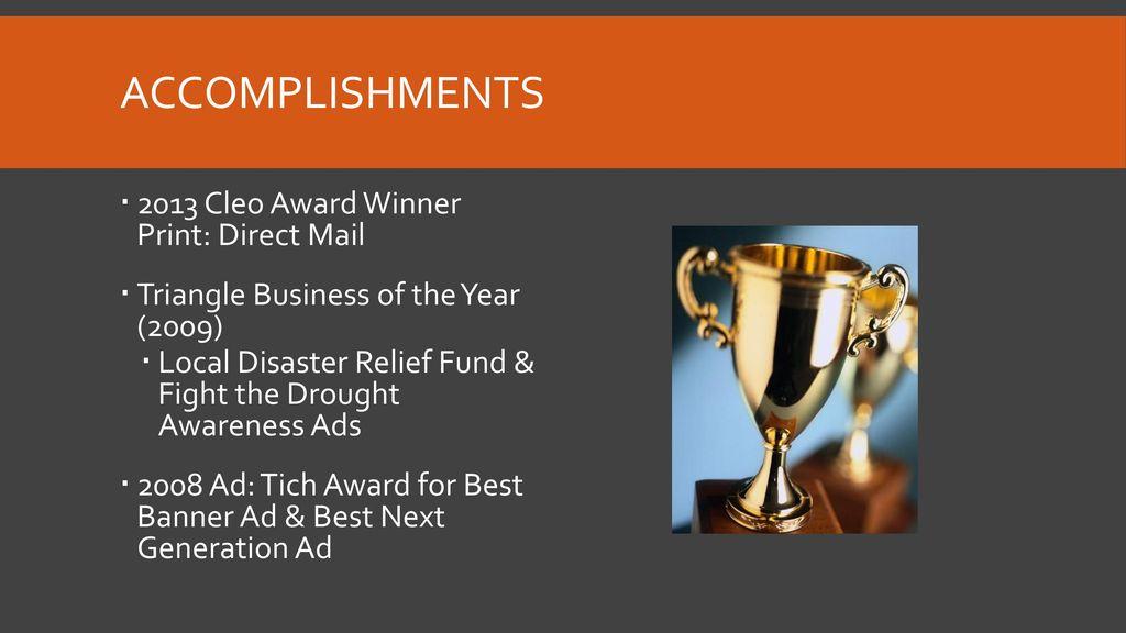 accomplishments 2013 cleo award winner print direct mail