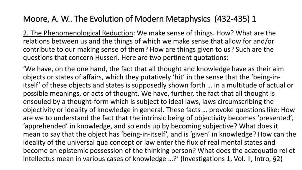 the evolution of modern metaphysics moore a w