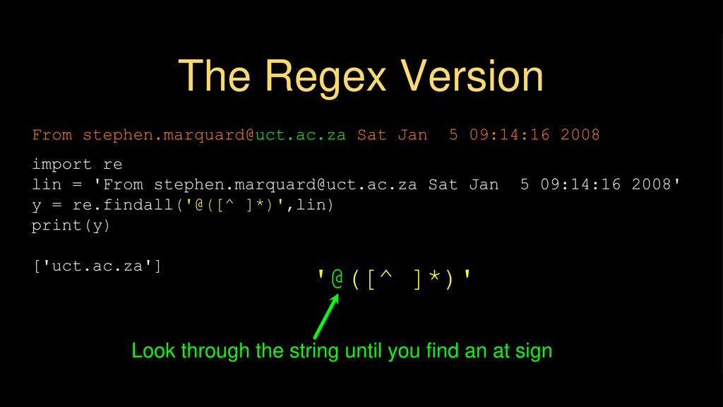 Regular Expressions Chapter 11 Python for Everybody - ppt