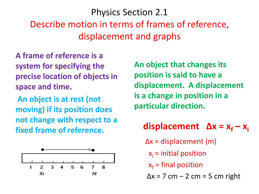 Physics Section 2.1 Describe motion in terms of frames of reference ...