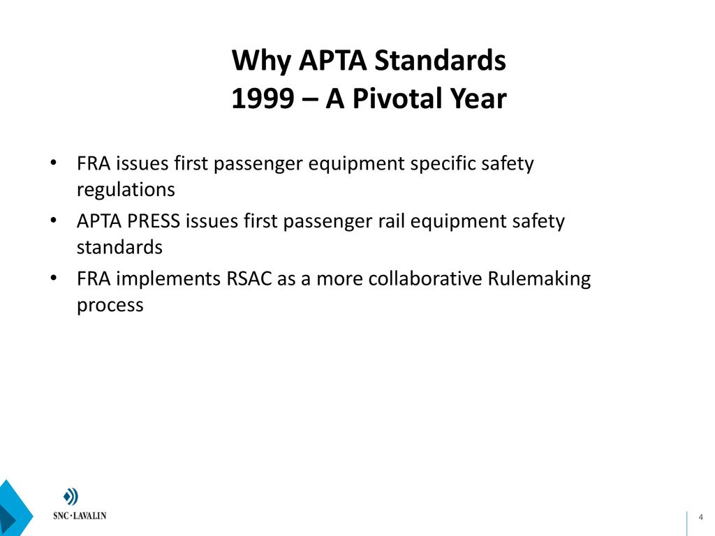 History and Effect of APTA Passenger Rail Safety Standards