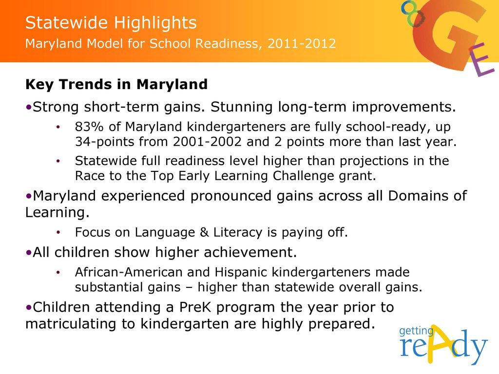 Statewide Highlights Maryland Model for School Readiness,