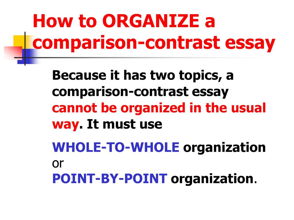 The Comparisoncontrast Essay  Ppt Download  How To Organize A Comparisoncontrast Essay Thesis For An Analysis Essay also Secondary School English Essay  Health Essay Sample