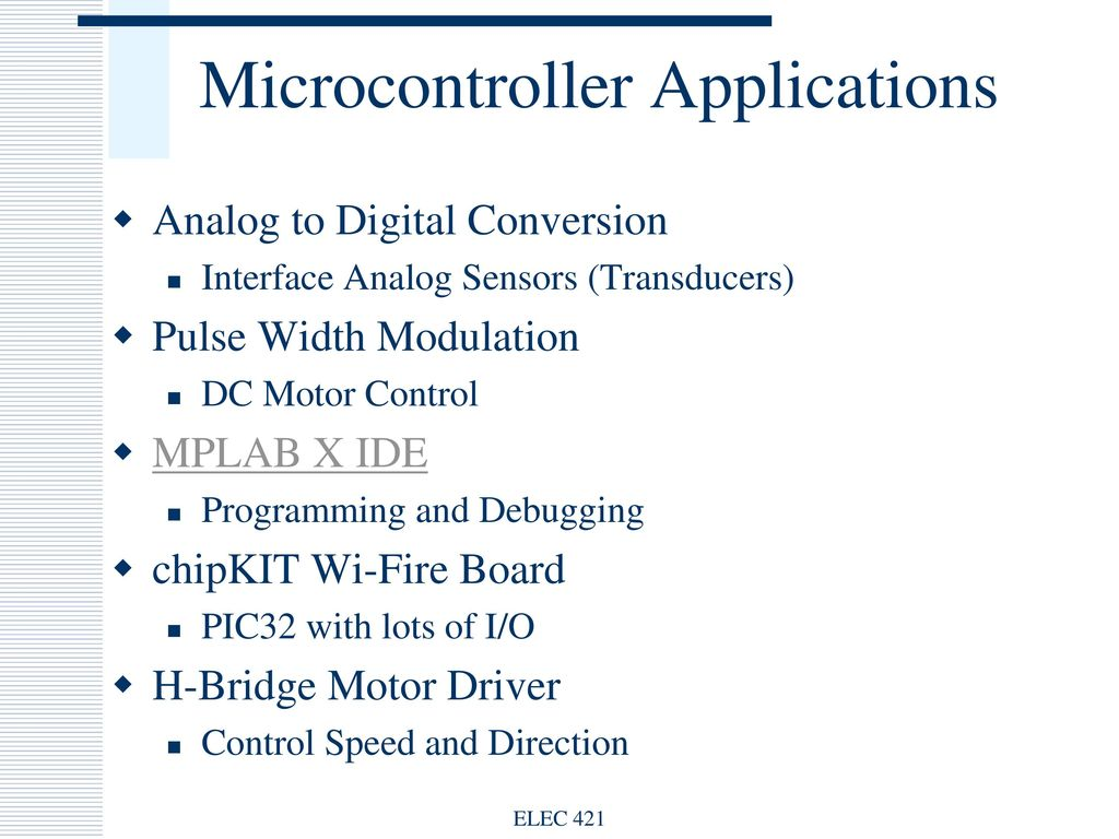 Microcontroller Applications Ppt Download Mcu Control Motor Speed And Direction Driver Elec 421