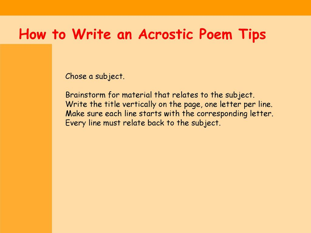 Watch How to Write an Acrostic Poem video